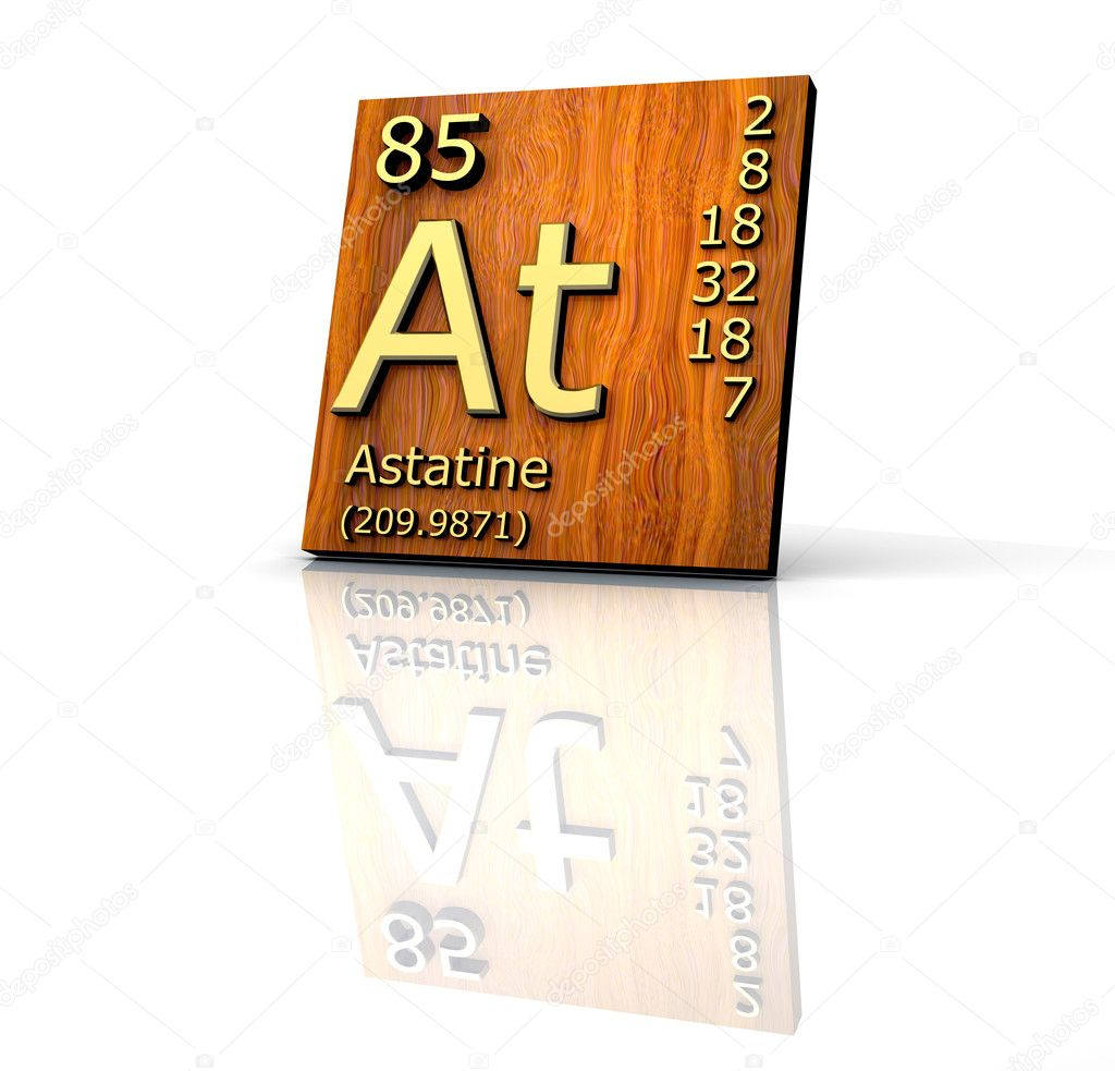 Astatine form Periodic Table of Elements - wood board ...