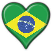 Brazilian button flag heart shape — Stock Photo