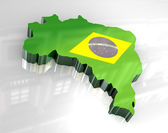 3d flag map of brazil — Stock Photo