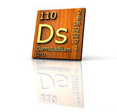 Darmstadtium Periodic Table of Elements - wood board — Stockfoto