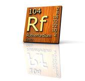 Rutherfordio forma tabla periódica de elementos - tablero de madera — Foto de Stock