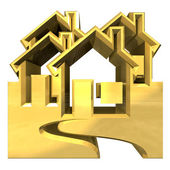 House Icon in gold - 3d — Stock Photo