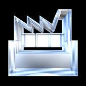 Výrobce stavebních ikonu na bílém podkladě ve skle - 3d — Stock fotografie