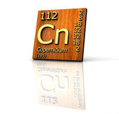 Copernicio tabla periódica de elementos - tablero de madera — Foto de Stock