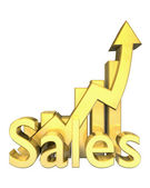 Sales statistics graphic in gold — Stock Photo