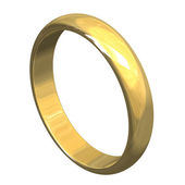 Isolated wedding ring in gold (3D) — Stock Photo