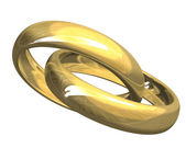 Wedding rings in gold (3D) — Stock Photo