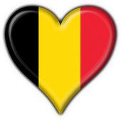Belgia przycisk flaga kształt serca — Zdjęcie stockowe