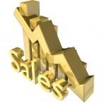 Постер, плакат: Statistics graphic in gold