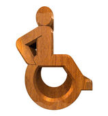 Universal wheelchair symbol in wood (3d) — Stock Photo