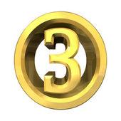 黄金 3d 数字 3 — 图库照片