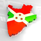 3d flag map of burundi — Stock Photo