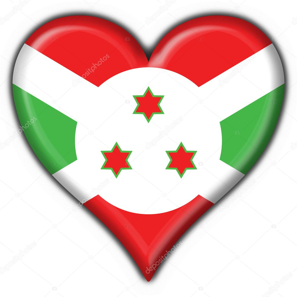 Burundi button flag heart shape - 3d made  Stock Photo #3719750