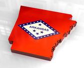 3d flag map of Arkansas — Stock Photo