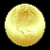 Metallic golden globe illustration with highly detailed terrain — Stock Photo