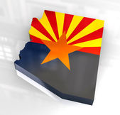 3d Flag map og Arizona — Stock Photo