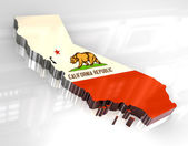 3d flag map og California — Stock Photo