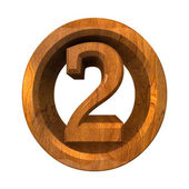3d number 2 in wood — Stock Photo