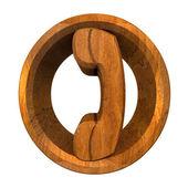 Phone symbol in wood - 3D — Stock Photo