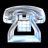 Phone symbol in glass - 3D — 图库照片