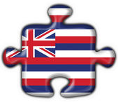 Hawaii (USA State) button flag puzzle shape — Stock Photo