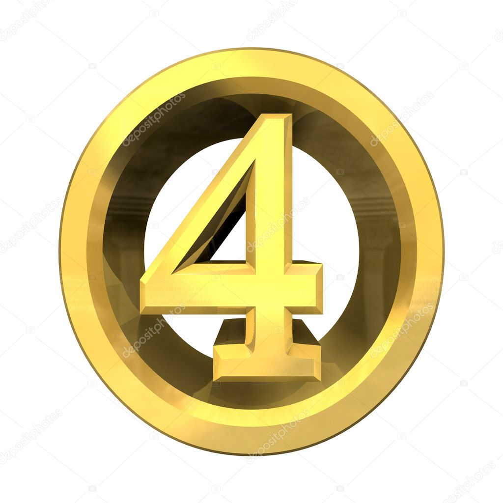 3d Number 4 In Gold Stock Photo Fambros 3757840