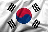 3d bandeira de cetim da coreia do sul — Foto Stock