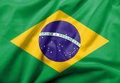 3d bandera de brasil satinado — Foto de Stock