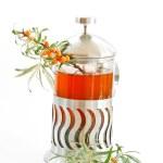Tea and sea buckthorn — Stock Photo