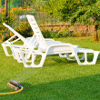 Deckchairs on the lawn — 图库照片