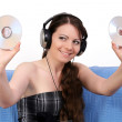 Girl with cd — Stock Photo