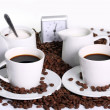 Stock Photo: Coffee composition with clock