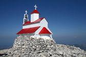 山的顶部的小教堂 — 图库照片