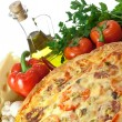 Homemmade pizza and ingredients — Stock Photo