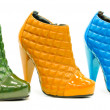 Stock Photo: Three colorful leather stylish shoes