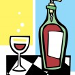Retro Wine and Glass #1 — Imagen vectorial