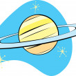 Retro Planet Saturn - Stock Vector