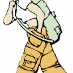 Постер, плакат: Walking Girl in Cargo Pants