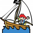 Pirate Boat with Boy #1 — Stock Vector