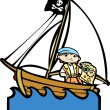 Pirate Boat with Boy #2 — Stock Vector