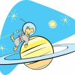 SpaceDog and Saturn - Stock Vector