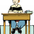 Stock Vector: Boy sitting at desk