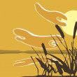 Reeds in the Sunset. - Stock Vector