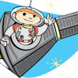 Mercury Capsule and Space Boy — Imagen vectorial