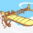 Bleriot airplane in flight. — Stock Vector