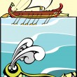 Greek Ship and Sea Monster #2. - Stock Vector