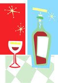 Retro Wine and Glass #2 — Stock Vector