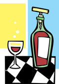 Retro Wine and Glass #1 — Stock Vector