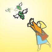 Woman Chasing Money — Stock Vector