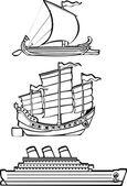 Three nautical ships — Stock Vector